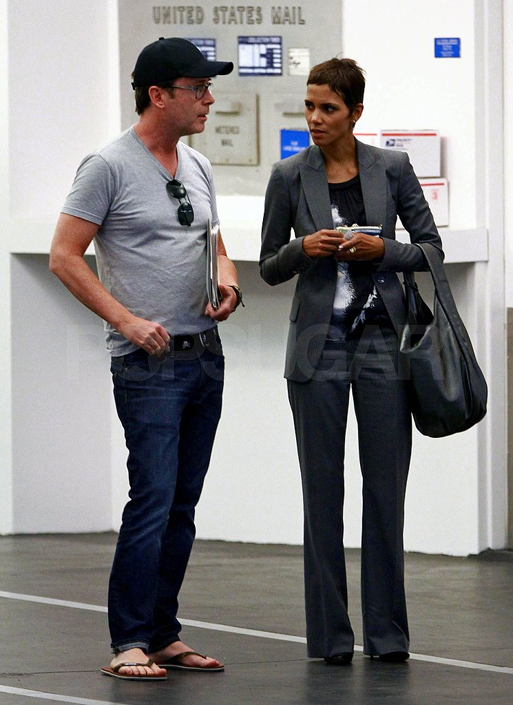 Halle Berry was dressed in dark tones for her trip to the LA Design Center.