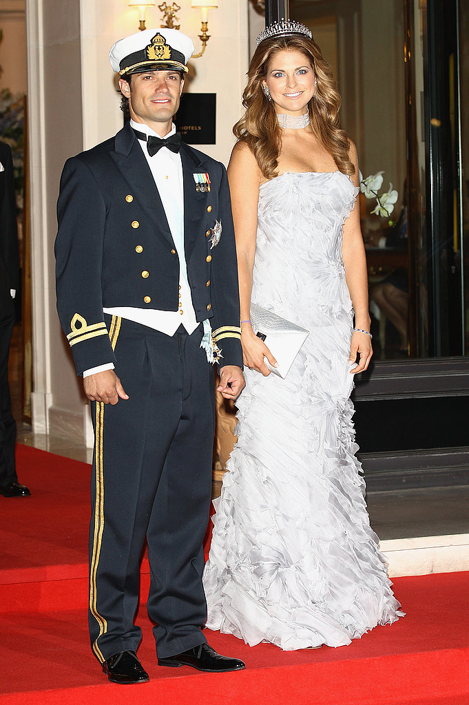 HRH Princess Madeleine of Sweden and Prince Carl-Philip of Sweden attended a dinner at Opera terraces after the religious wedding ceremony of Prince Albert II of Monaco and Princess Charlene of Monaco.