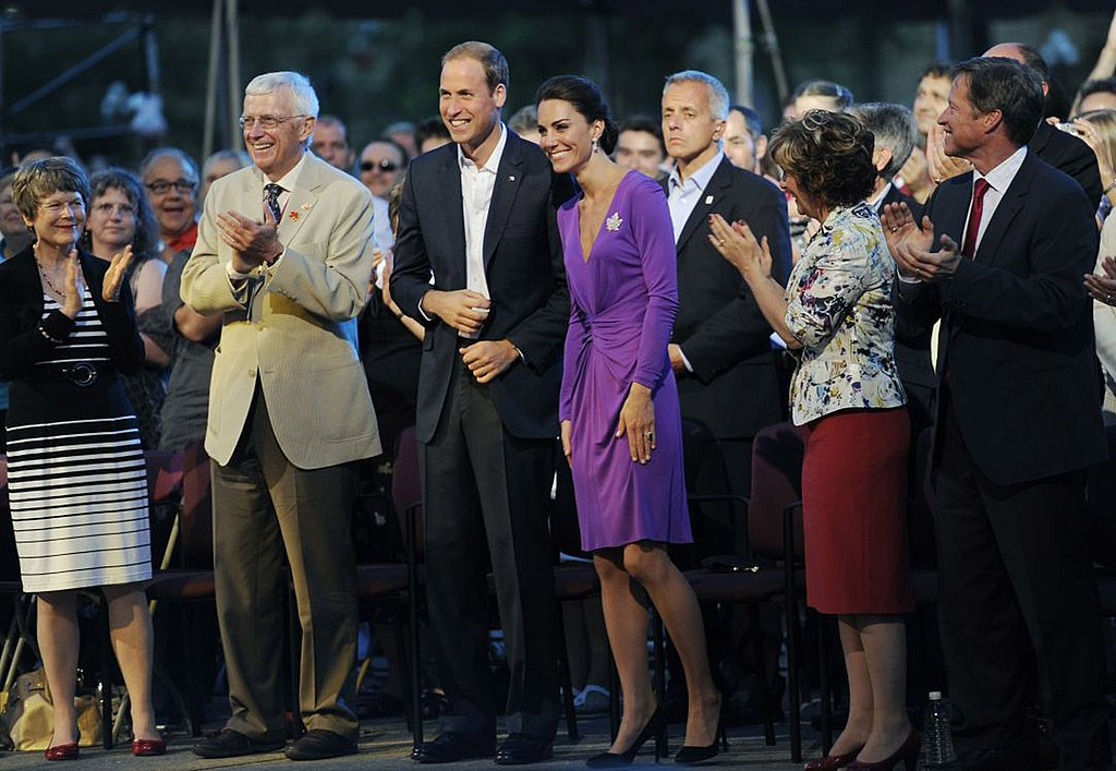 Prince William and Kate Middleton were flanked by an entourage and admirers.