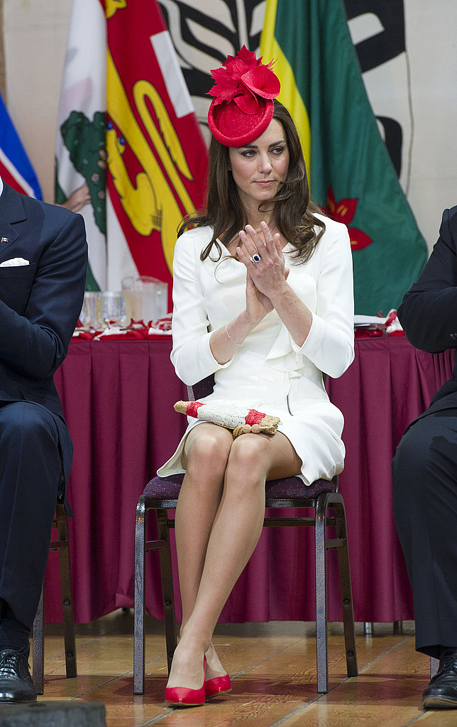 Kate Middleton wore the same white dress she sported in her engagement photos in Ottawa.