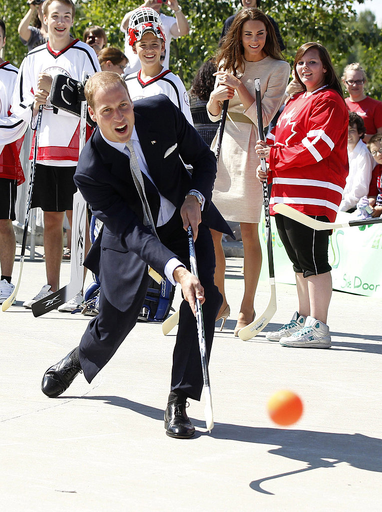 Prince William showed off his hockey skills on the street.
