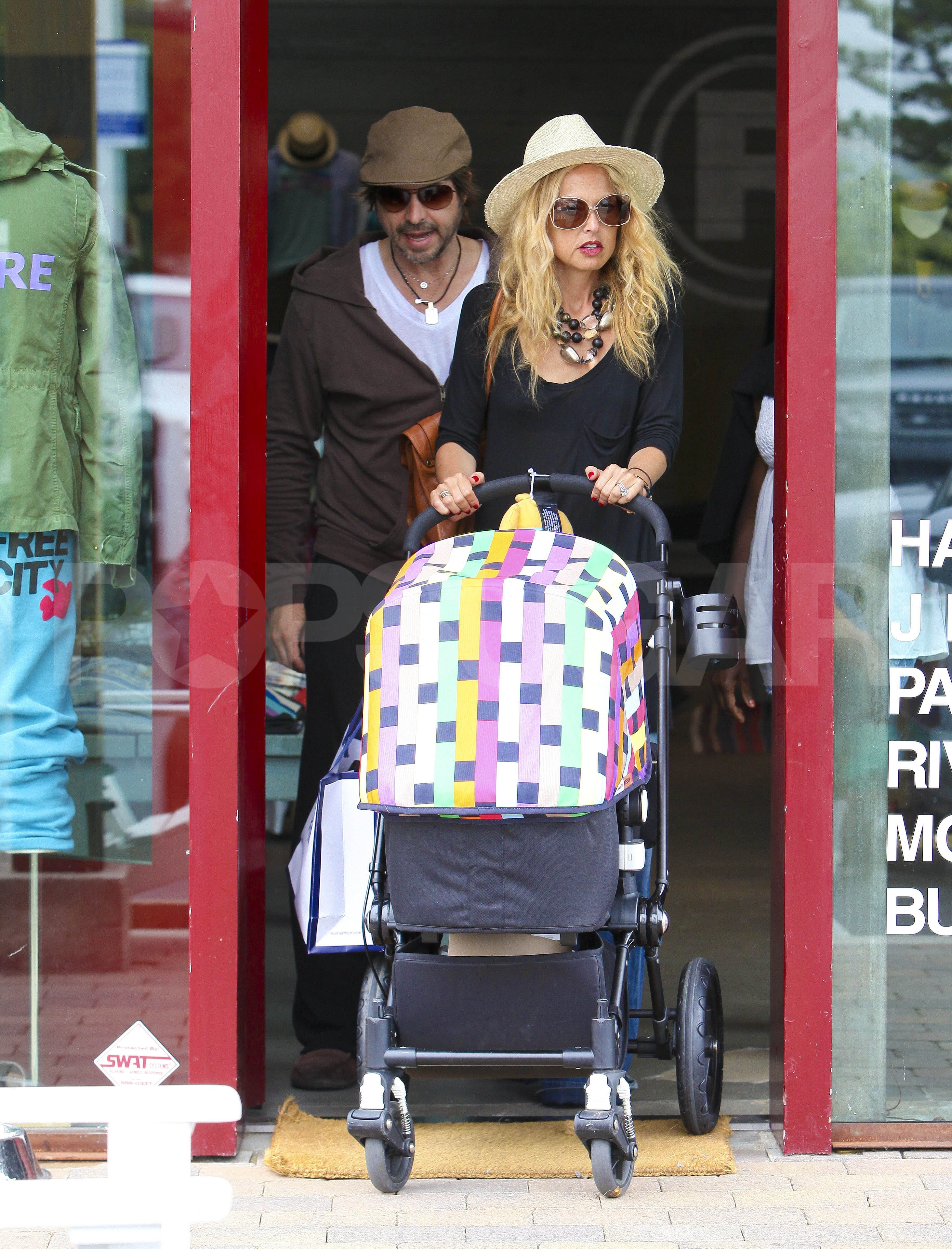 Rachel Zoe and Rodger Berman pushed baby Skyler in his stroller.