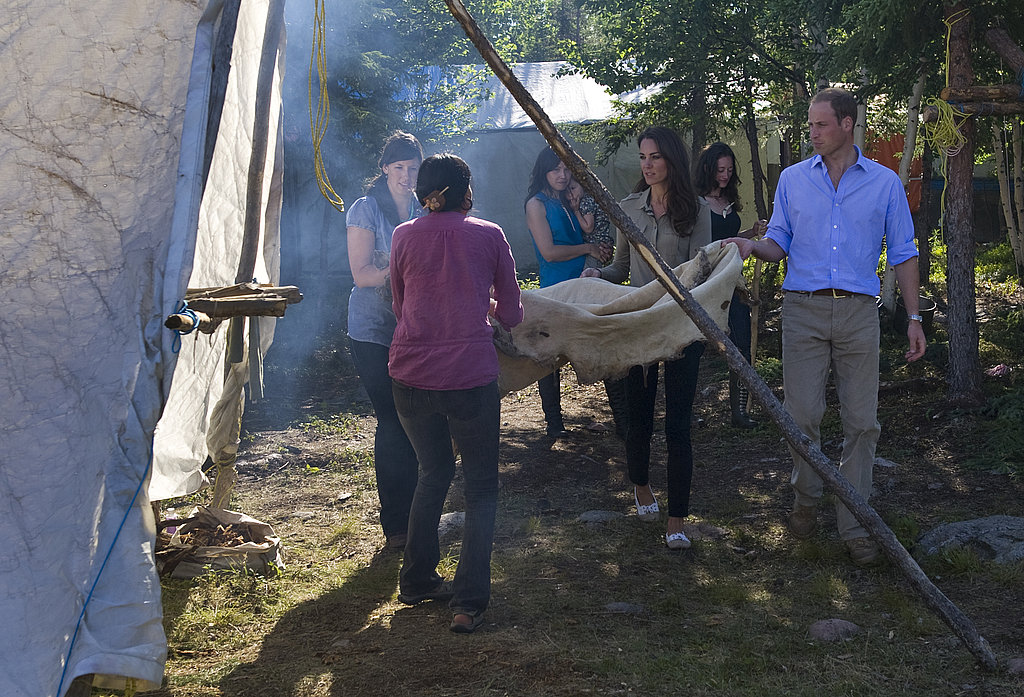 Prince William and Kate Middleton helped smoke a caribou skin.