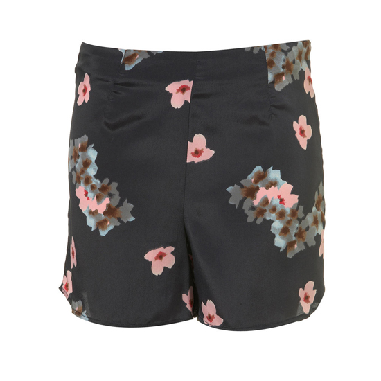 Topshop Black Blossom Print Shorts, $66    Pair with: