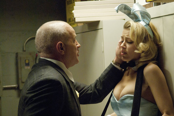 Randy Steinmeyer as Clyde Hill and Amber Heard as Maureen on NBC&#039;s The Playboy Club.</p> <p>Photo courtesy of NBC