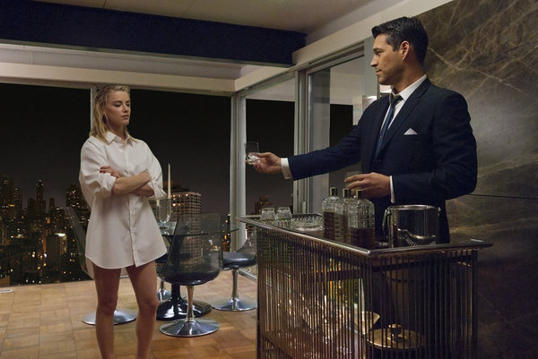 Amber Heard as Maureen and Eddie Cibrian as Nick Dalton on NBC&#039;s The Playboy Club.