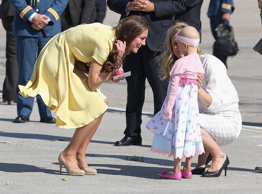 Kate Middleton chatted with a young cancer patient and the girl's mother.