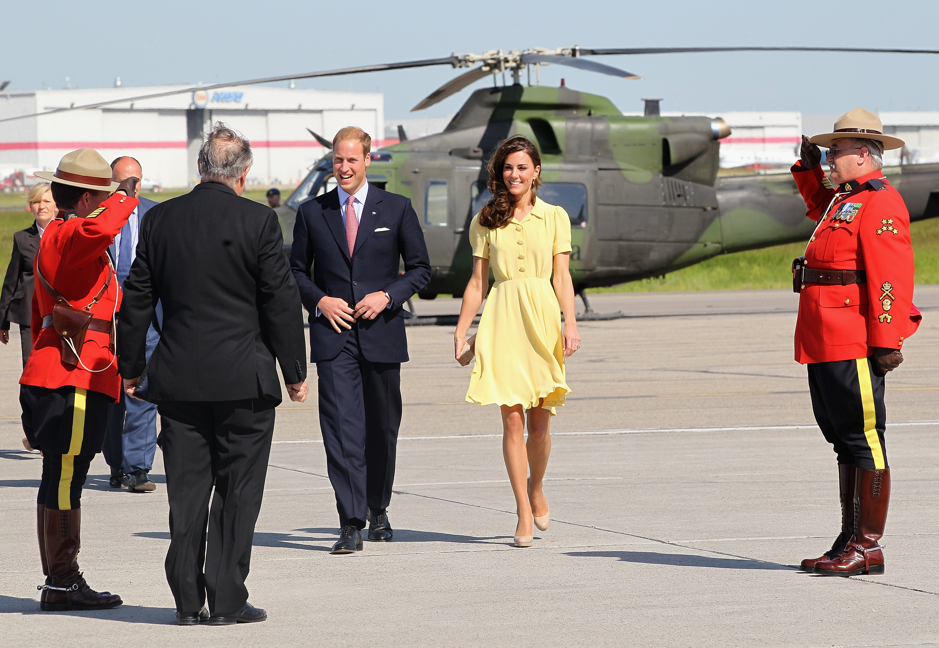 William and Kate greeted upon arriving in Calgary.