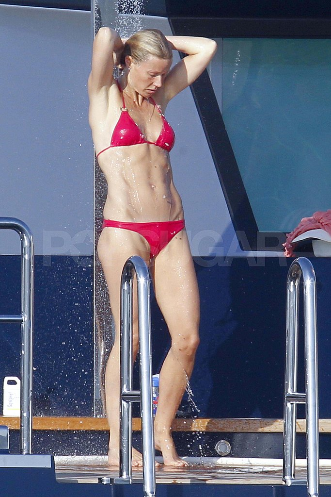 Gwyneth Paltrow in a red bikini.