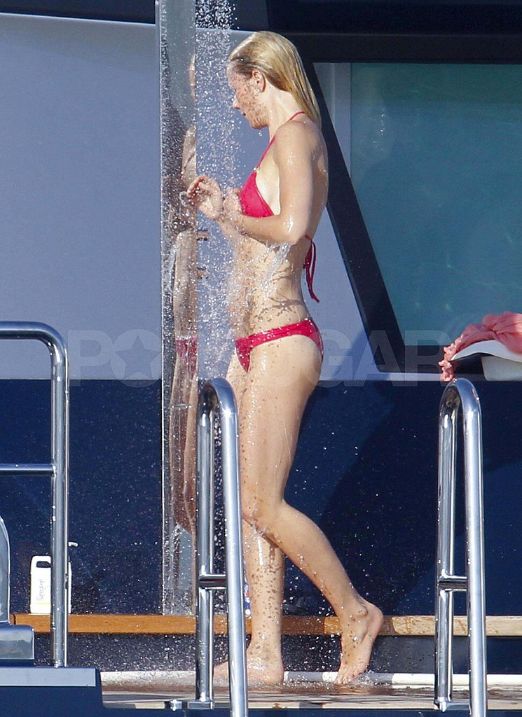 Gwyneth Paltrow in a bikini on a yacht.