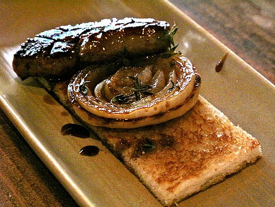 Foie gras with grilled cipollini onion on a rectangular toast point. You can never go wrong with foie.