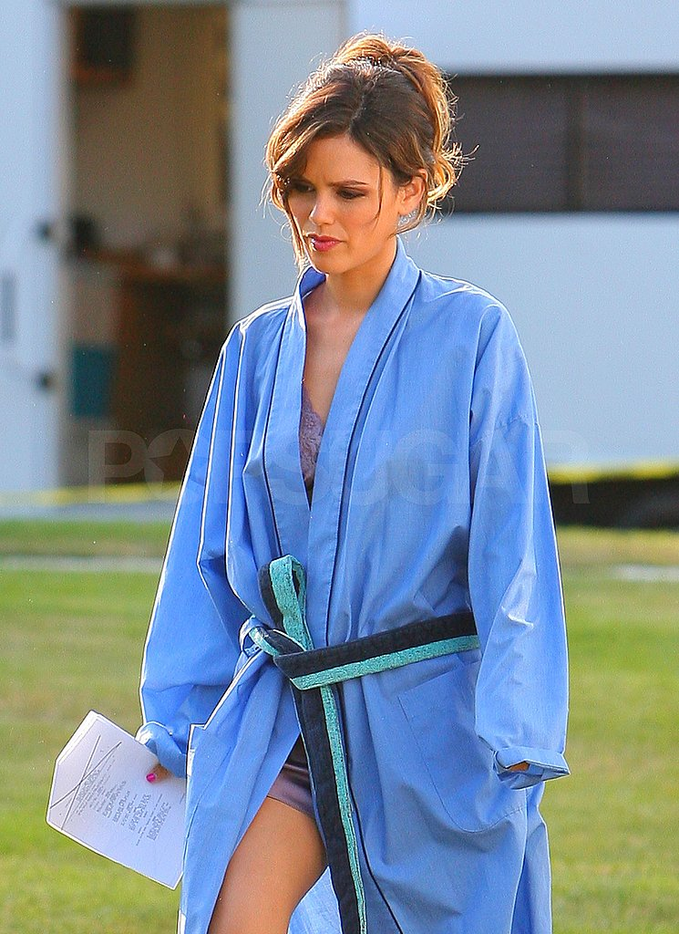 Rachel Bilson stepped out of her trailer with her hair pulled back.