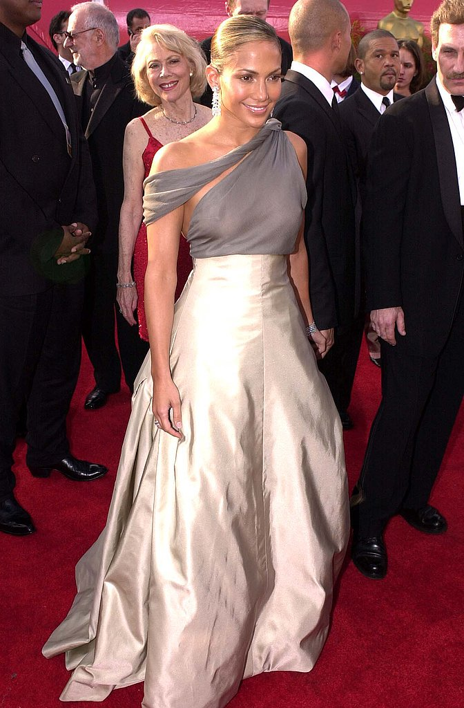 At the 2001 Oscars in a gorgeous, metallic and sheer Chanel.