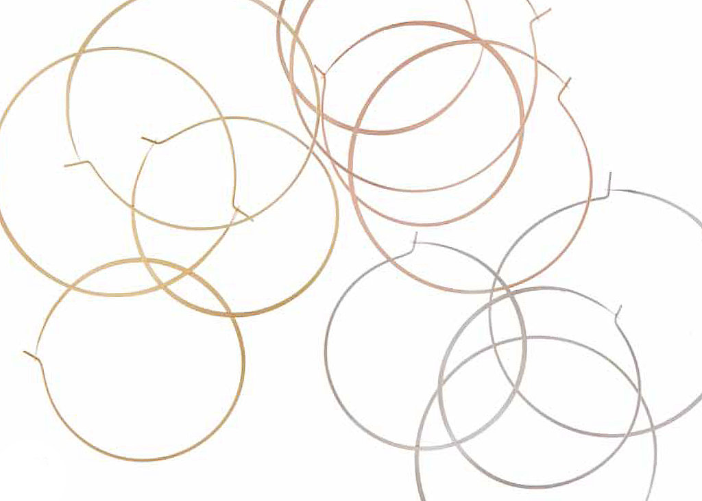 Small Goldtone, Rose Gold Tone, or Silvertone Whisper Hoops: $45 per pair; Large Goldtone, Rose Gold Tone, or Silvertone Whisper Hoops: $55 per pair