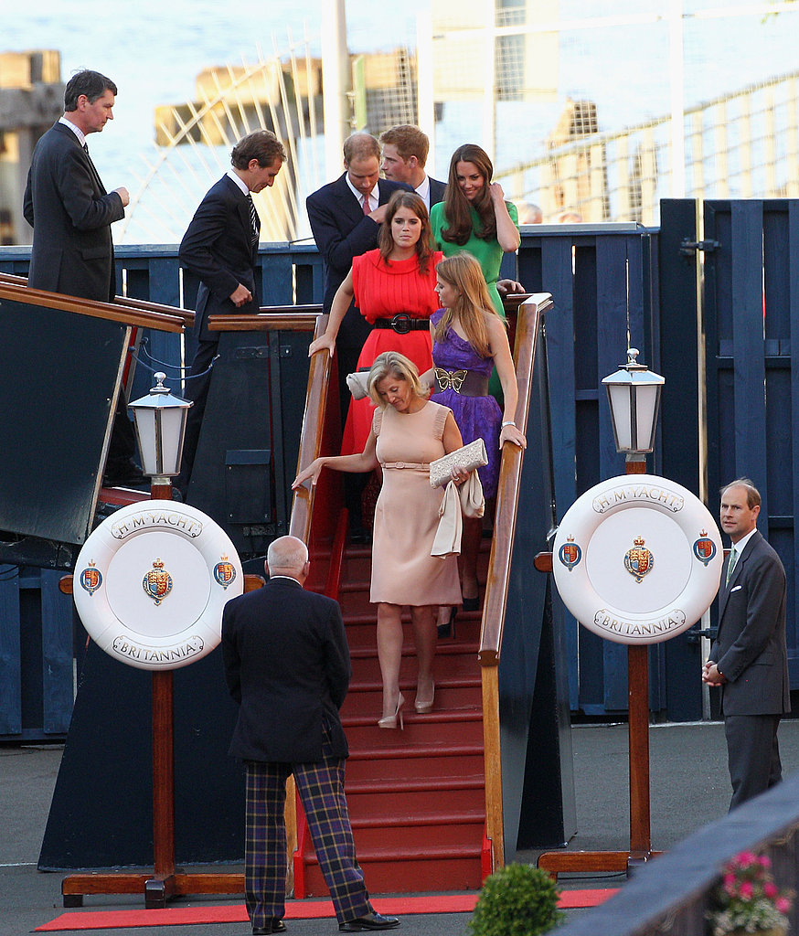 Sophie of Wessex leads the way for Dave Clark, Prince Harry, Prince William, Kate Middleton, Princess Eugenie, and Princess Beatrice.