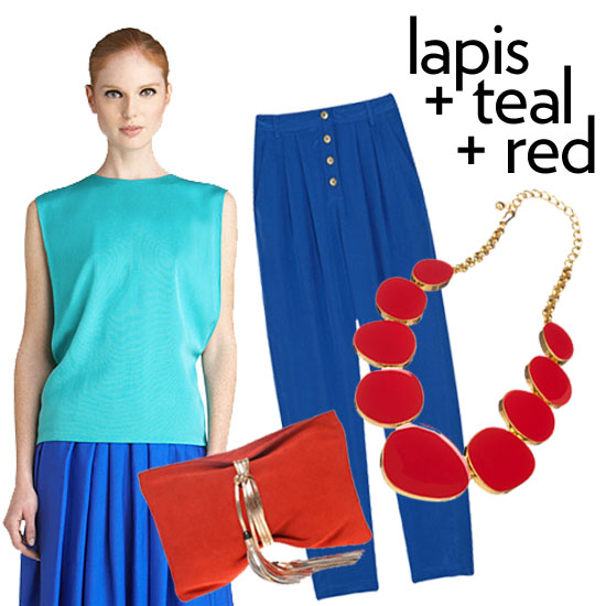 """""""I also love beautiful rays of lapis mixed with brilliant teals, azure, or robin egg blues,"""" said Roy. """"When wearing so many tones of a strong color, I like to pop in a bright unexpected like fire red."""" Rachel Roy ($110, originally $275), ASOS Leather Wrap Round Tassel Clutch ($78), Tibi Cropped Silk Crepe de Chine Pants ($250), Kenneth Jay Lane Red Enamel Circle Necklace ($275)"""