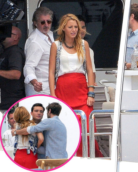 Blake Lively, Chace Crawford, and Ed Westwick Hug It Out Filming Gossip Girl in LA