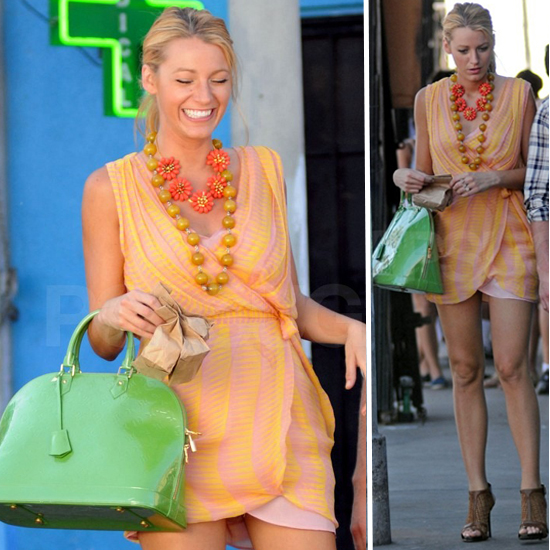 Blake Lively Carries Green Louis Vuitton Bag on Gossip Girl