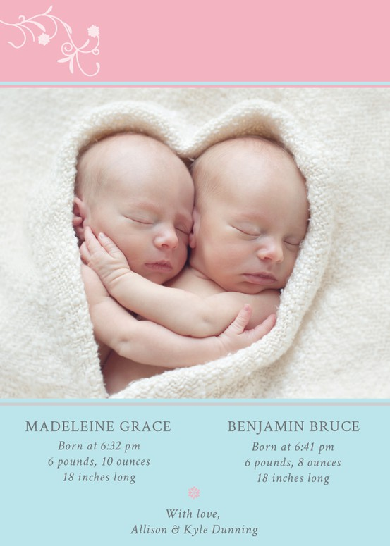 Room For Two: Pink and Blue Birth Announcement For Twins