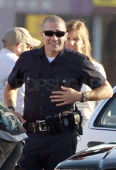 Jake Gyllenhaal flashed a smile between scenes.