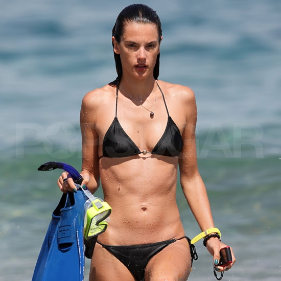Alessandra Ambrosio Pictures in a Black Bikini in Mauai
