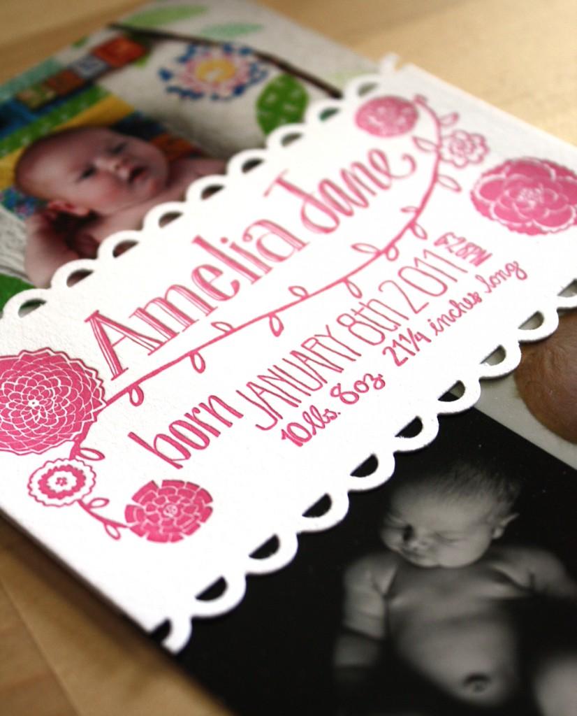 Letterpress Birth Announcement Photo Band
