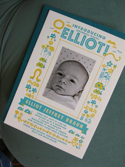 Letterpress Printed Photo Birth Announcement