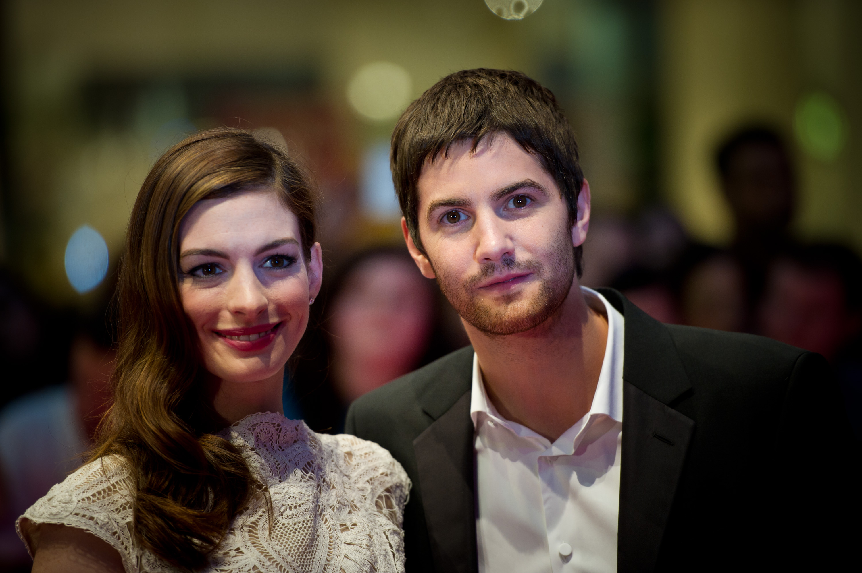 Anne Hathaway and Jim Sturgess posed for pictures.