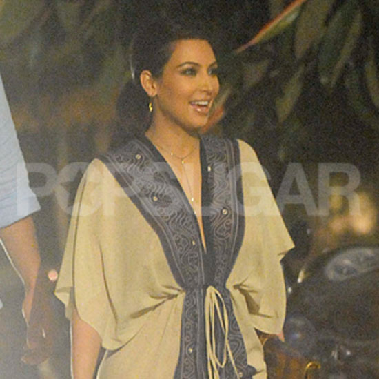 Kim Kardashian wore an elaborate caftan to dinner with her husband, Kris Humphries.