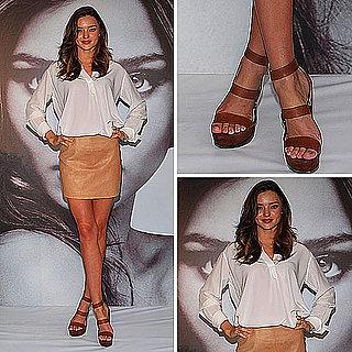 Miranda Kerr Wearing a Leather Miniskirt