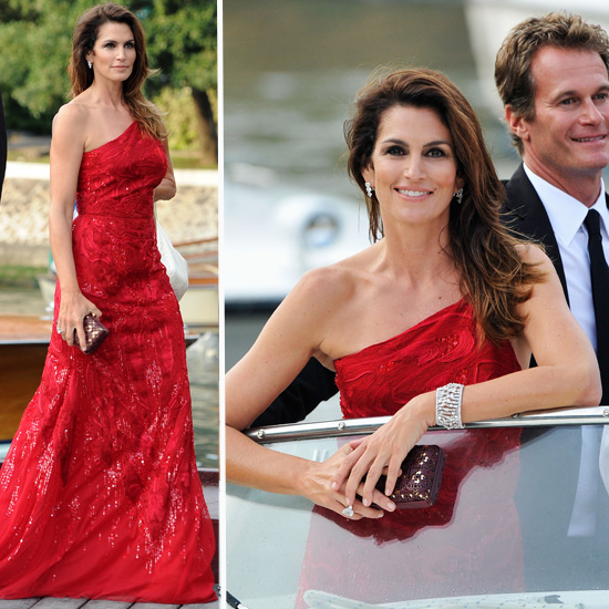 Cindy Crawford Wears Roberto Cavalli Red Gown in Venice