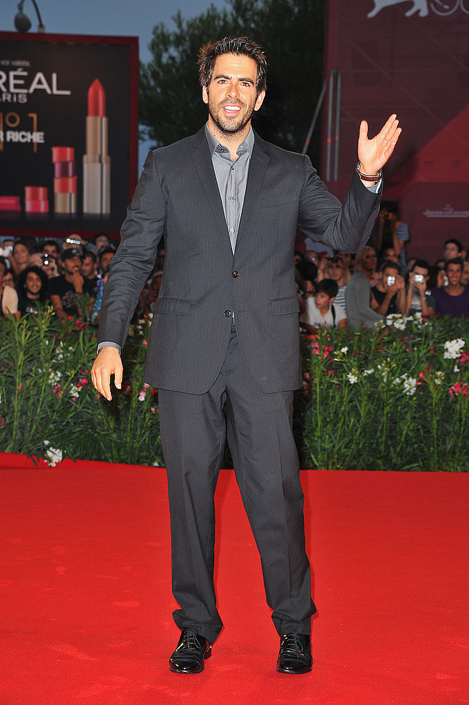 Eli Roth waved from the red carpet.