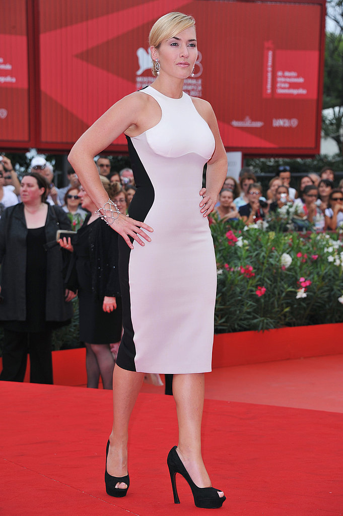 Kate Winslet wore a body-hugging dress by Stella McCartney at the Mildred Pierce premiere in Venice.