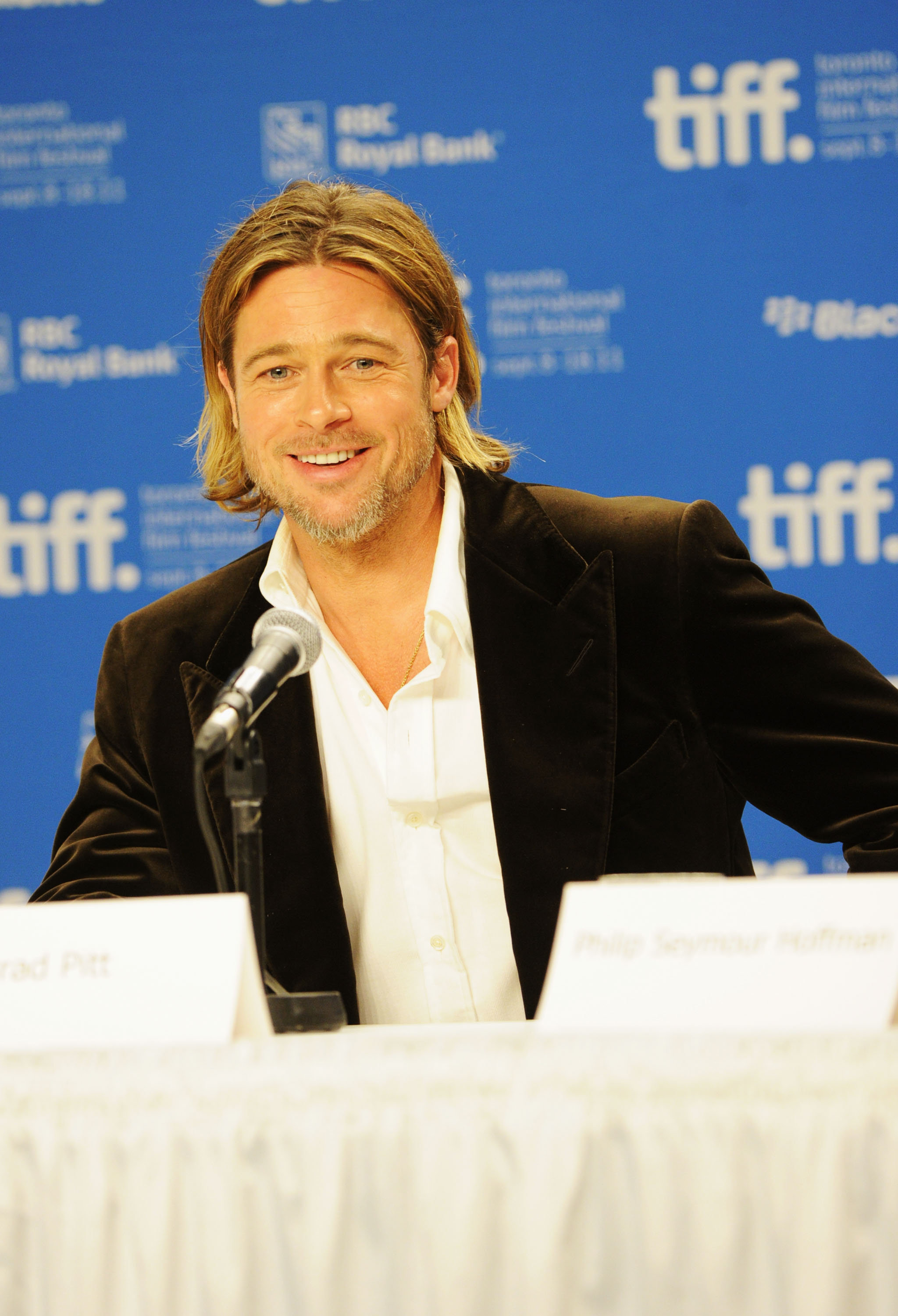 Brad Pitt answered questions about Moneyball.