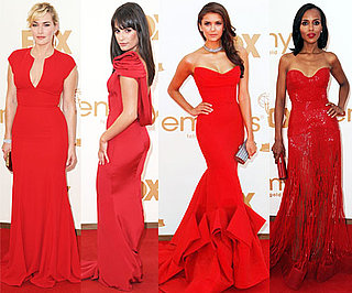 Celebrities in Red Dresses at the Emmys