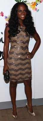 Tika Sumpter in Sequin Alice and Olivia Dress