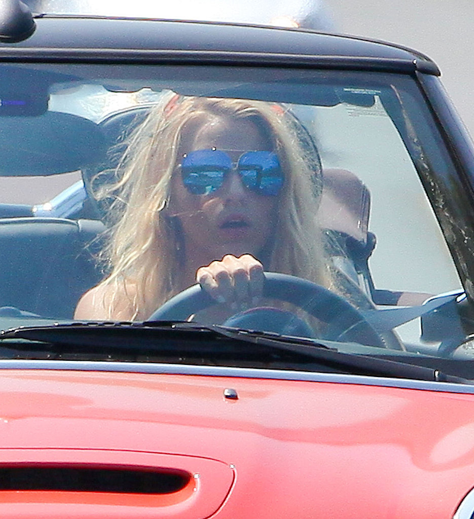 Blake kept her eyes protected with aviator sunglasses.