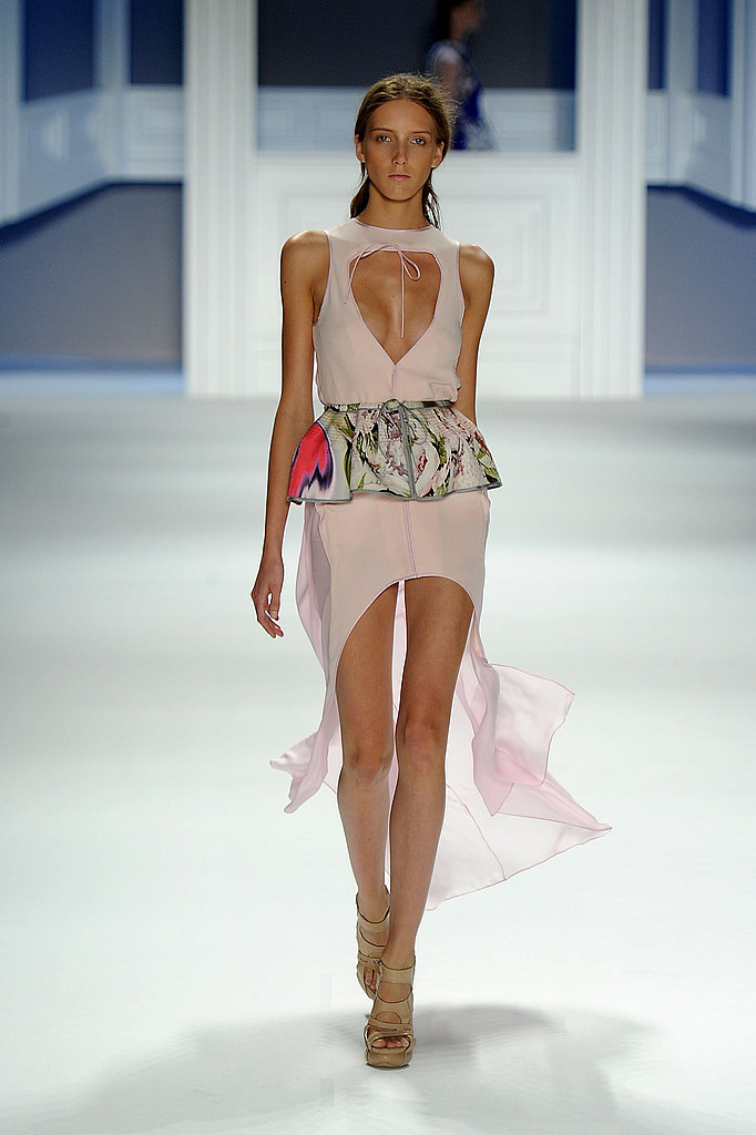 Vera Wang's soft, ethereal confections maintained a supersexy feel with open necklines and leg-baring hemlines.