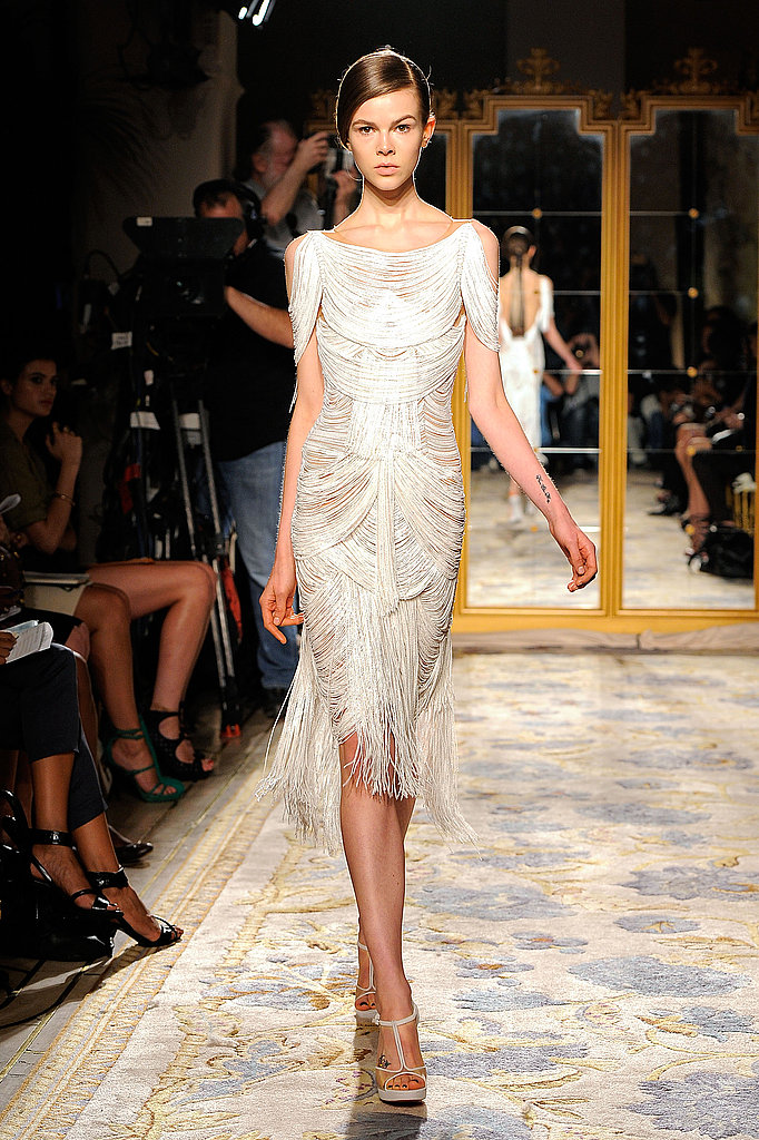 Marchesa's body-conscious silhouettes drew us in with fringed detailing and a hint of skin.