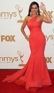 Sofia Vergara in Coral Vera Wang Gown at Emmy Awards