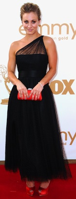 Kaley Cuoco in Black Romona Keveza Dress at Emmy Awards