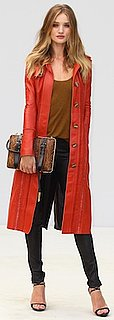 Rosie Huntington-Whiteley in Red Leather Coat by Burberry