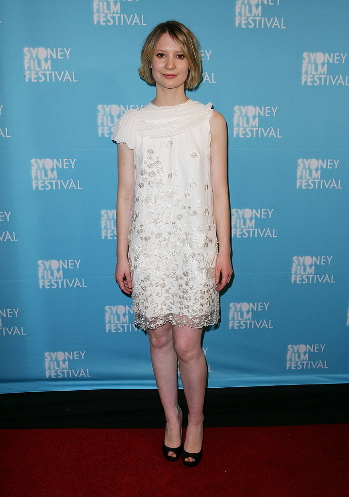 Going femme with modern edge in a white, embellished sheath for the Sydney premiere of Jane Eyre.