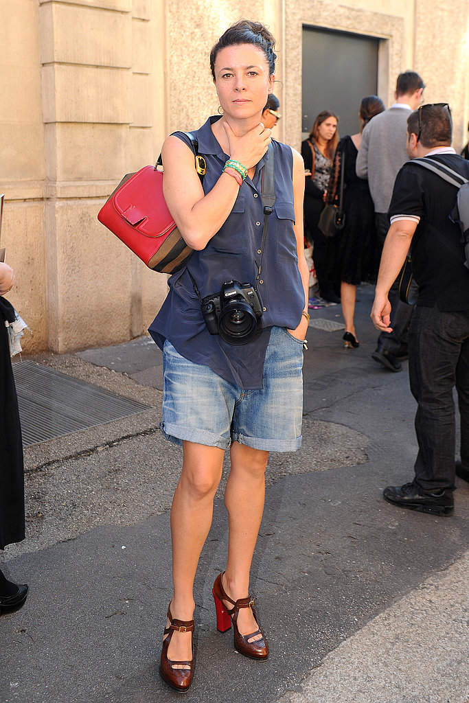 Garance Doré got snapped in boyfriend shorts and cute pumps.