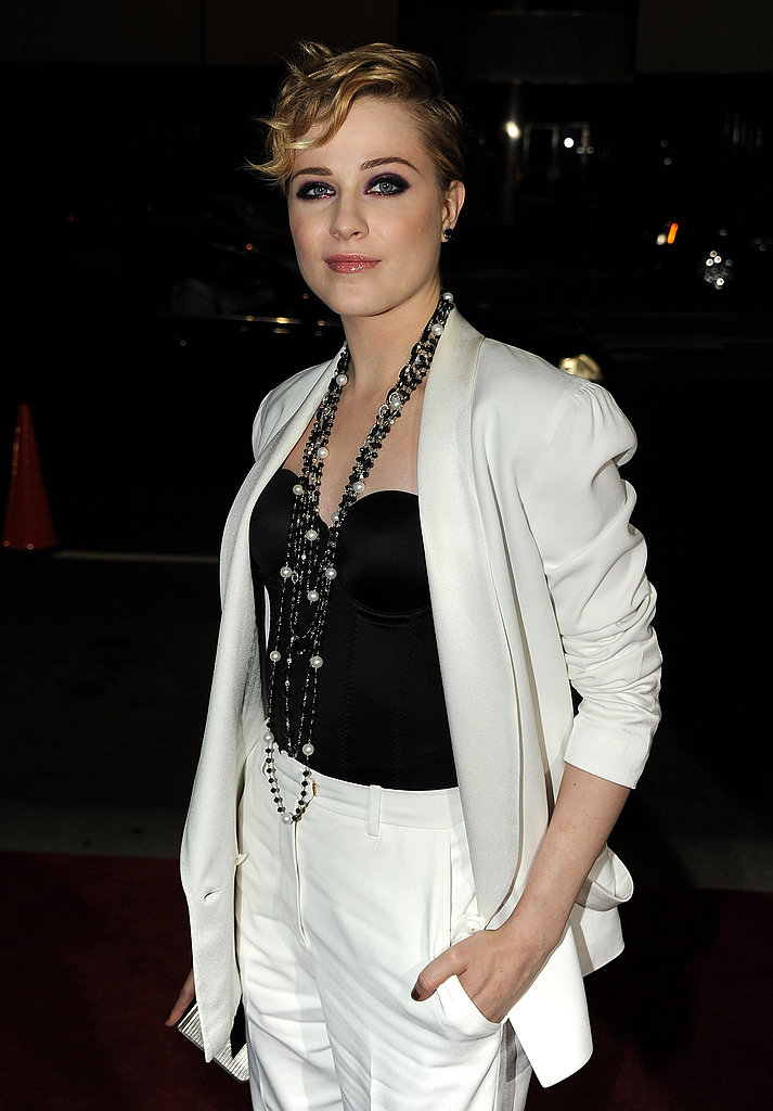 Evan Rachel Wood looked chic in white and black.