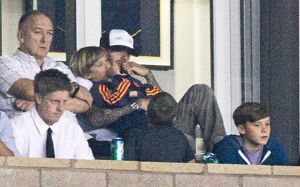 Ted Beckham sat alongside Romeo and David.