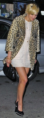 Ashlee Simpson in Lace Dress and Leopard Coat