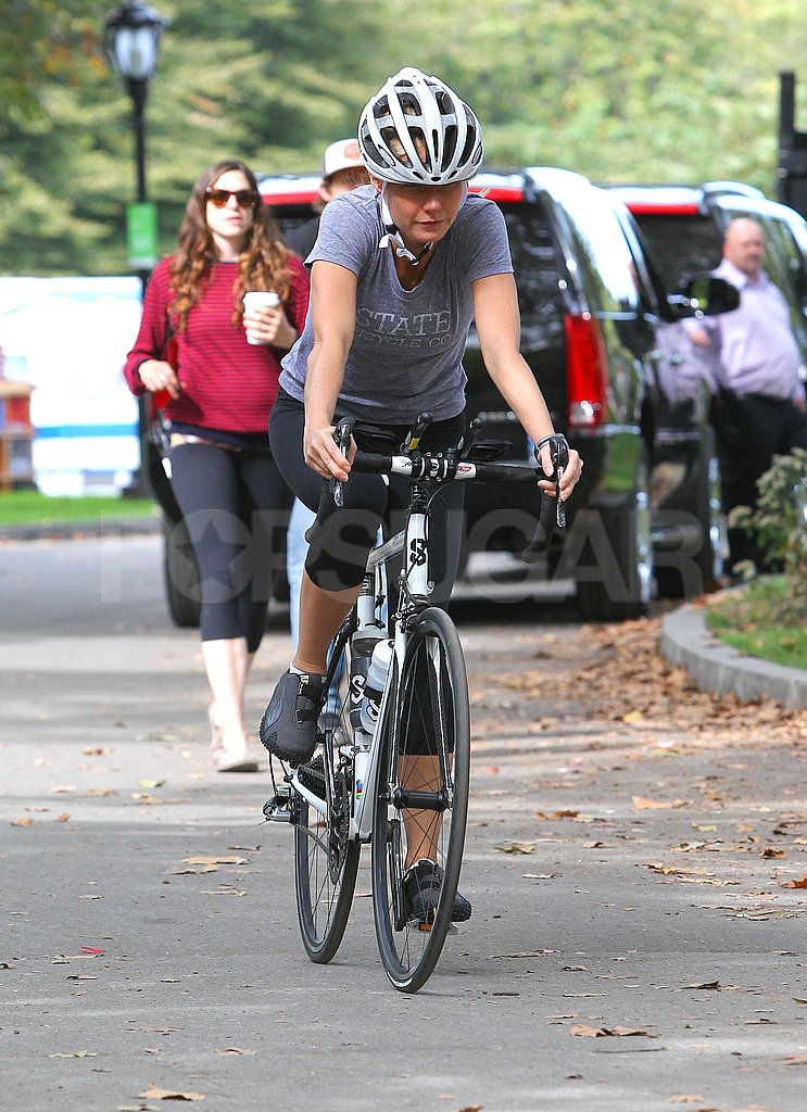Gwyneth Paltrow pedaled through a park on the set of Thanks For Sharing.