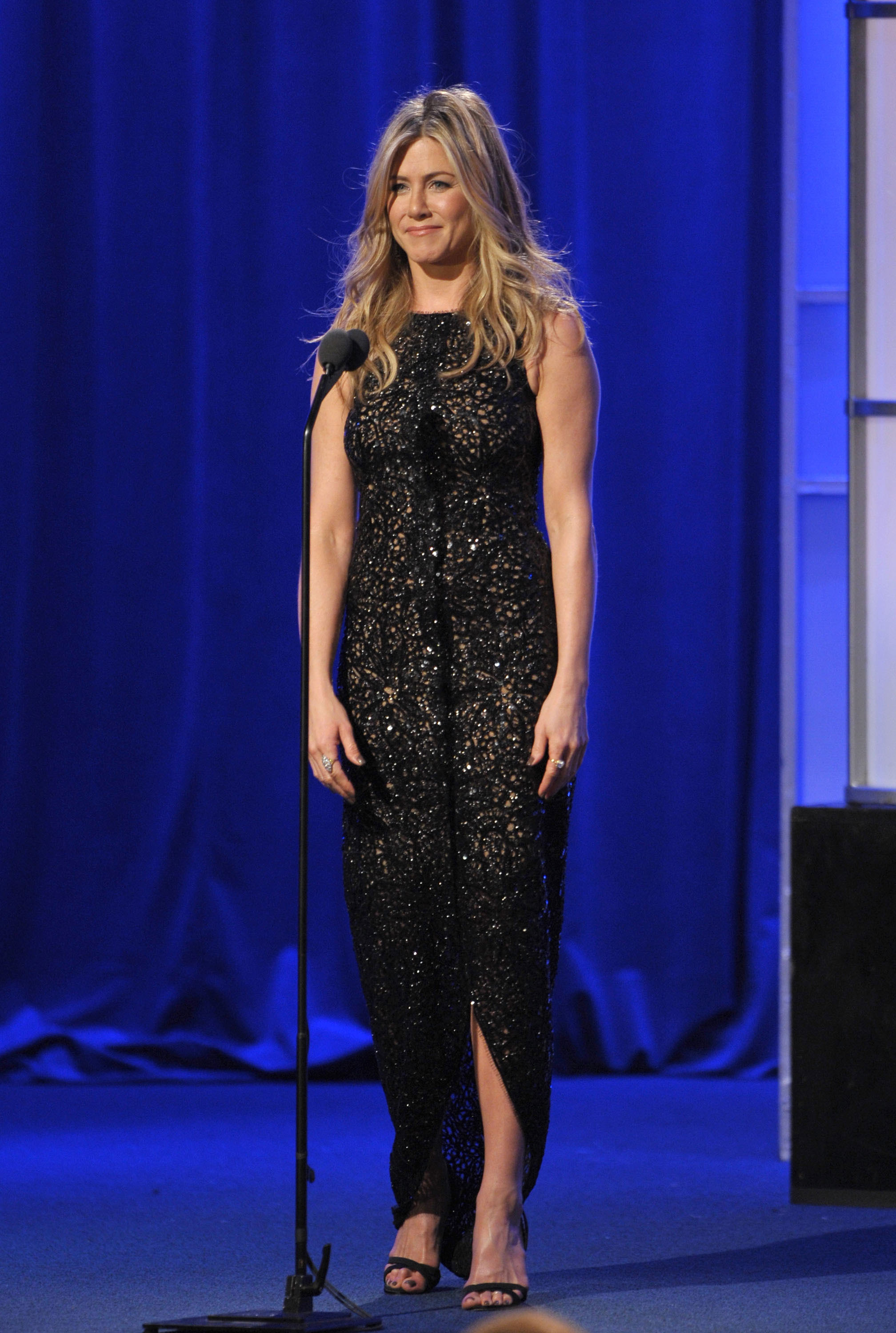 Jennifer Aniston wore her trademark colour, black, to last night's event.