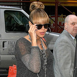 Beyonce Pregnant in a Short Gray Dress in NYC Pictures